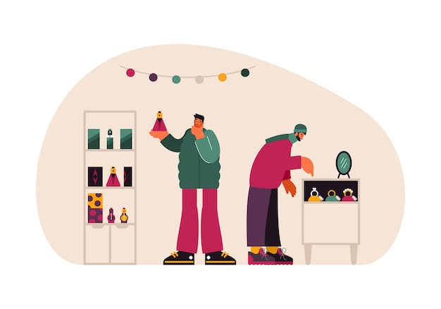 Illustratie van moderne mannen die aromatische parfums en dure sieraden kiezen tijdens het kopen van cadeautjes in de winkel tijdens kerstinkopen Premium Vector