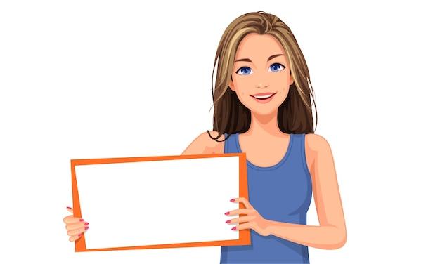 Illustratie van mooie vrouw met een leeg bord Premium Vector