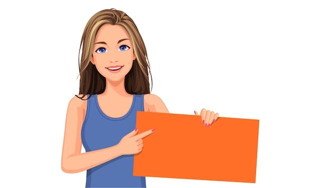 Illustratie van mooie vrouw met een oranje leeg bord Premium Vector
