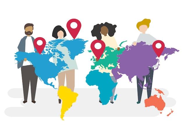Illustratie van multiraciale karakters met globaal concept Gratis Vector