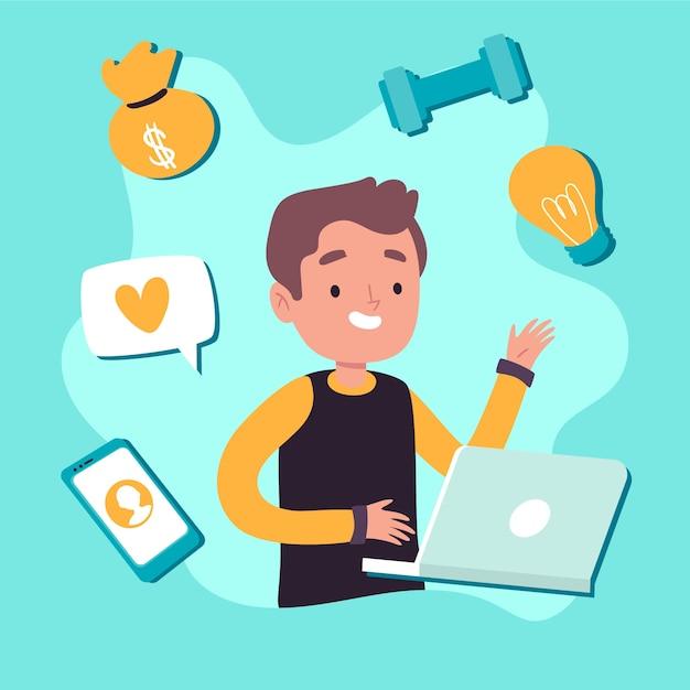 Illustratie van multitasking concept Gratis Vector