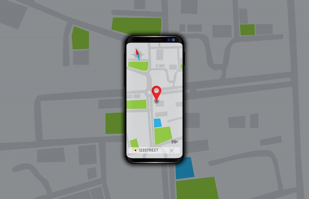 Illustratie van navigatie gps kaarten applicatie op slimme mobiele telefoon Premium Vector