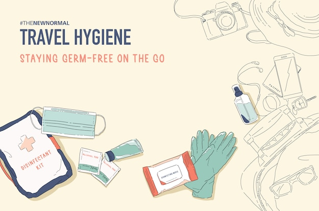 Illustratie van new normal lifestyle. reis veilig met hygiëneproduct. desinfecterende kit. bescherm jezelf tegen ziektekiemen, bacteriën en virussen. coronavirus (covid-19) Premium Vector