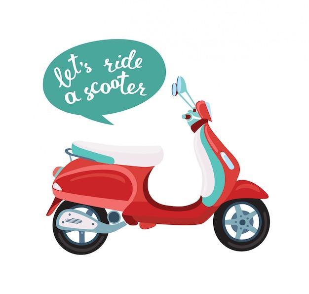 Illustratie van old school scooter en handschrift belettering woorden laten we rijden een scooter Premium Vector