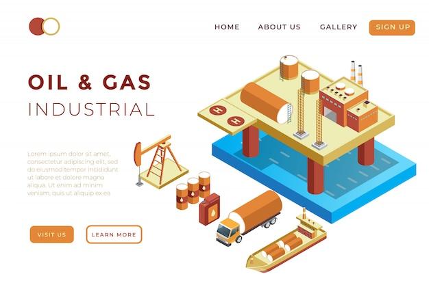 Illustratie van olie- en gasproductie, olieraffinaderijen en productdistributie in isometrische 3d-afbeelding Premium Vector
