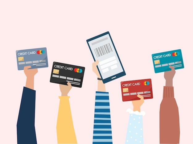 Illustratie van online betaling met creditcard Gratis Vector