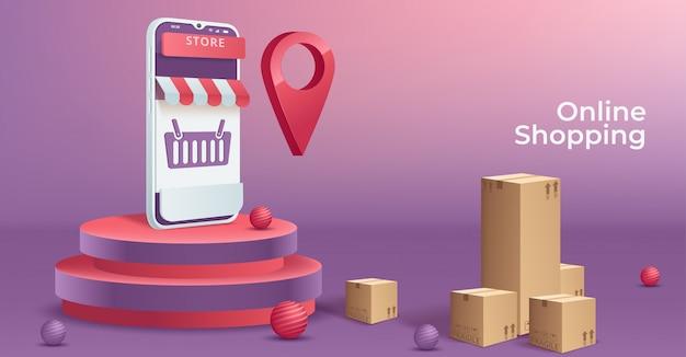 Illustratie van online winkelen concept op mobiele telefoon. Premium Vector