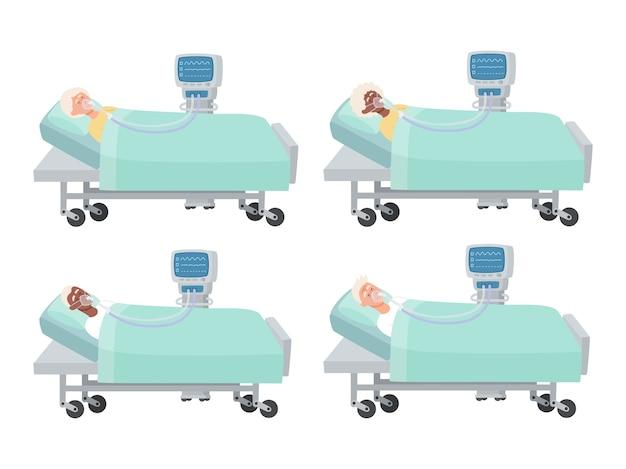 Illustratie van oude mensen die in ziekenhuisbed liggen met zuurstofmasker en ventilator op wit, mannen en vrouwen in reanimatie tijdens coronavirusinfectie die voor tijdschrift, webpagina's wordt gebruikt. Premium Vector