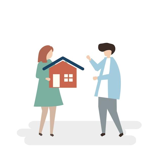 Illustratie van paar dat een nieuw huis koopt Gratis Vector