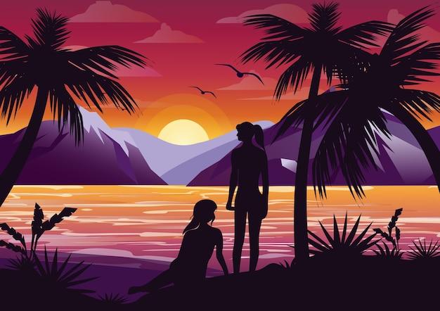 Illustratie van paar meisjes vrienden silhouet op het strand onder de palmboom op zonsondergang achtergrond en bergen in. Premium Vector