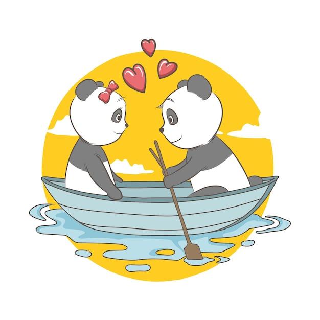 Illustratie van paarpanda op boot met hart. kaart en achtergrond Premium Vector