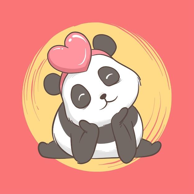 Illustratie van panda met hart. kaart en achtergrond Premium Vector