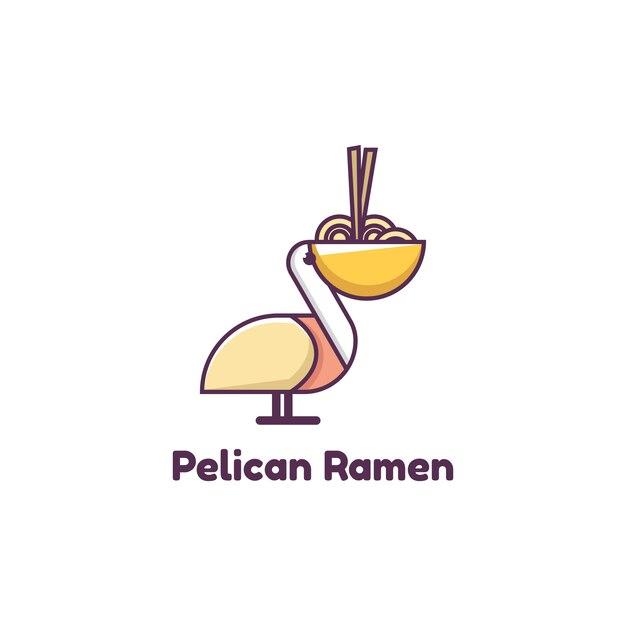 Illustratie van pelican ramen logo, pictogram, sticker ontwerpsjabloon Premium Vector