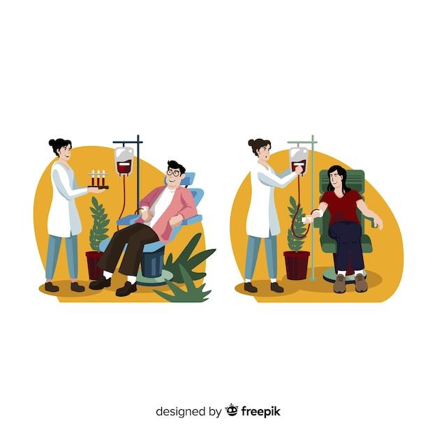 Illustratie van persoon die bloed schenkt Gratis Vector