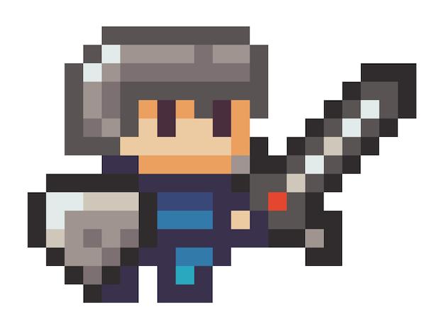 Illustratie van pixelman met een zwaard Premium Vector