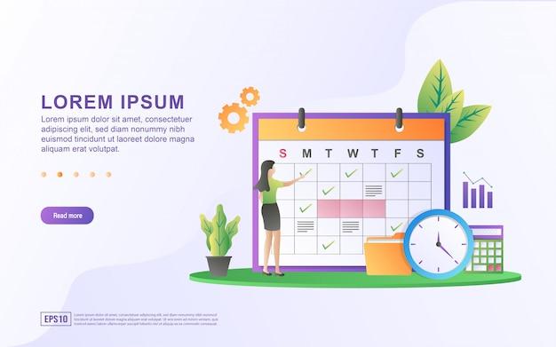 Illustratie van planning en planning met schema en agenda bordpictogram. Premium Vector