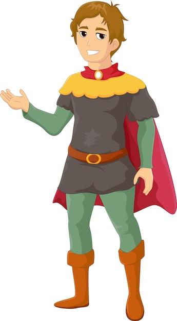 Illustratie van prins cartoon zwaaiende hand Premium Vector