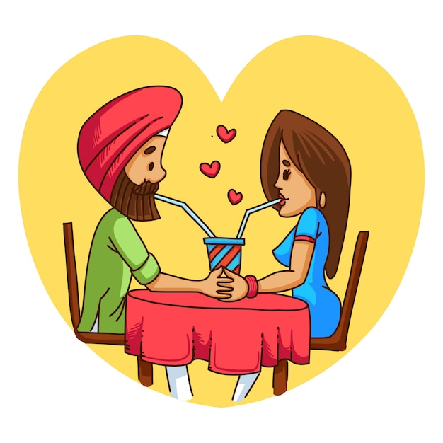Illustratie van punjabi sardar verliefde paar. Premium Vector