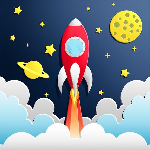 Illustratie van raket in de ruimte Premium Vector