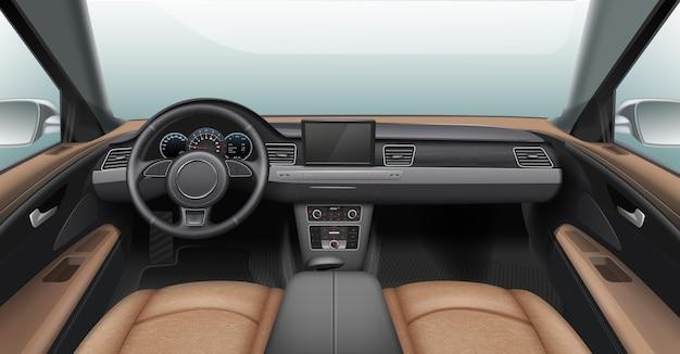 Illustratie van realistisch auto-interieur met lichte lederen stoelen en grijs dashboard Premium Vector