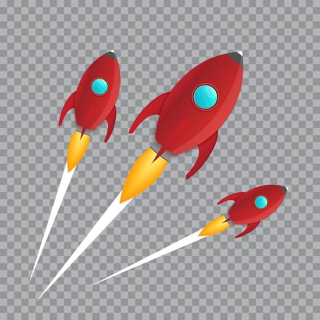 Illustratie van realistische 3d raket ruimteschip lancering geïsoleerd op transparante achtergrond. ruimteonderzoek. Premium Vector