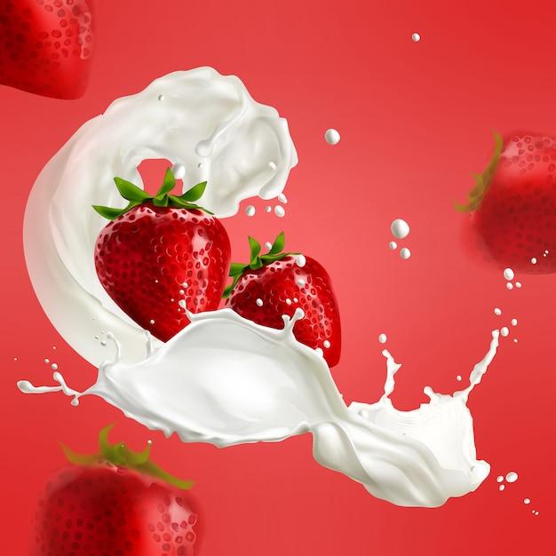 Illustratie van realistische aardbei in melkplons op rode achtergrond Premium Vector