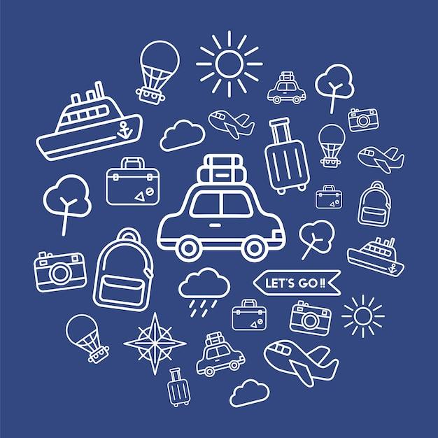 Illustratie van reis geplaatste pictogrammen Gratis Vector