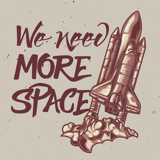 Illustratie van ruimteschip met letters: we hebben meer ruimte nodig Gratis Vector