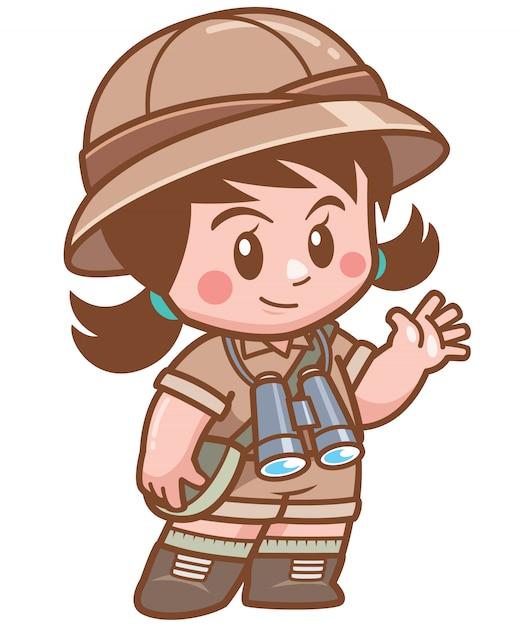 Illustratie van safari meisje met verrekijker Premium Vector