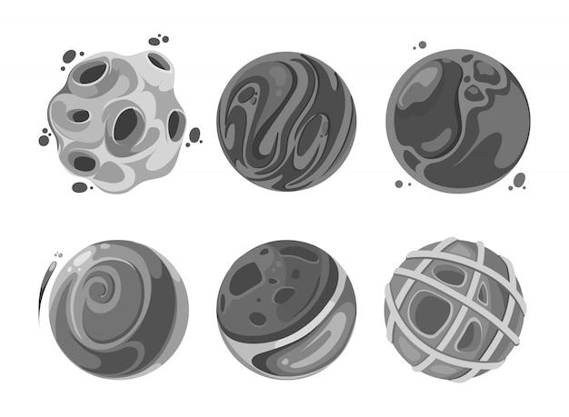 Illustratie van satellieten. vector set pictogram abstracte elementen in de ruimte Premium Vector