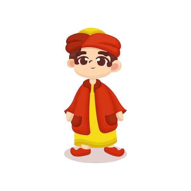 Illustratie van schattige arabische kind met cartoon stijl Premium Vector
