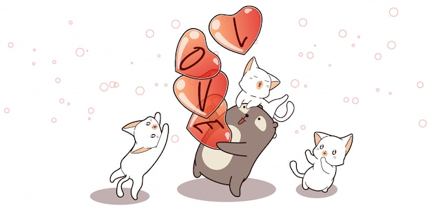 Illustratie van schattige beer draagt harten Premium Vector