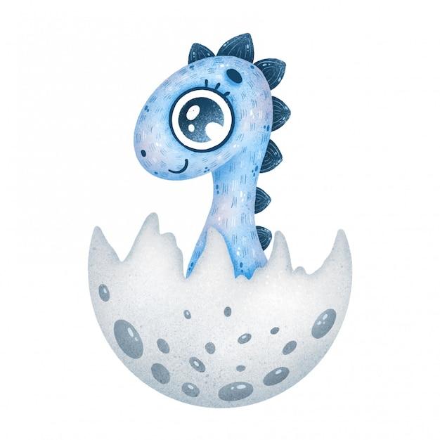 Illustratie van schattige cartoon blauwe pasgeboren baby dinosaurus in ei Premium Vector