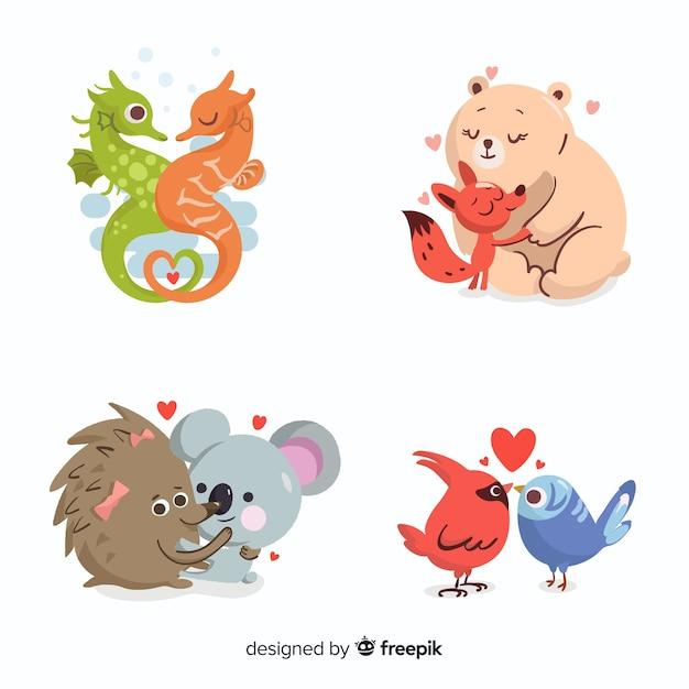 Illustratie van schattige dieren in de liefde Gratis Vector