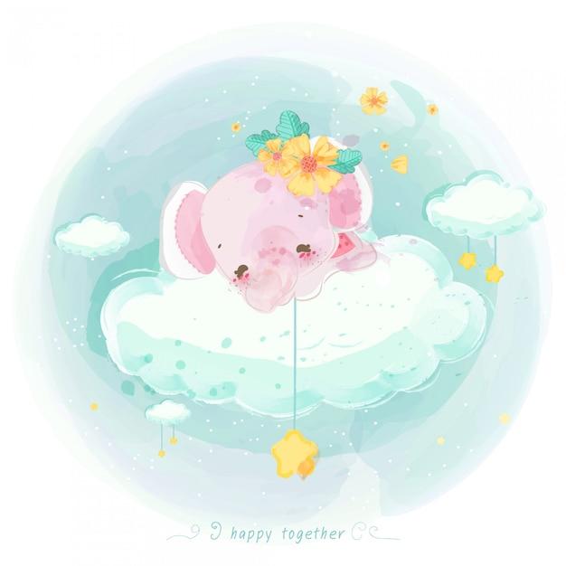 Illustratie van schattige dieren op een wolk Premium Vector