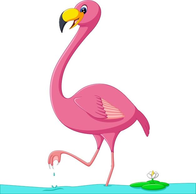 Illustratie van schattige flamingo cartoon Premium Vector
