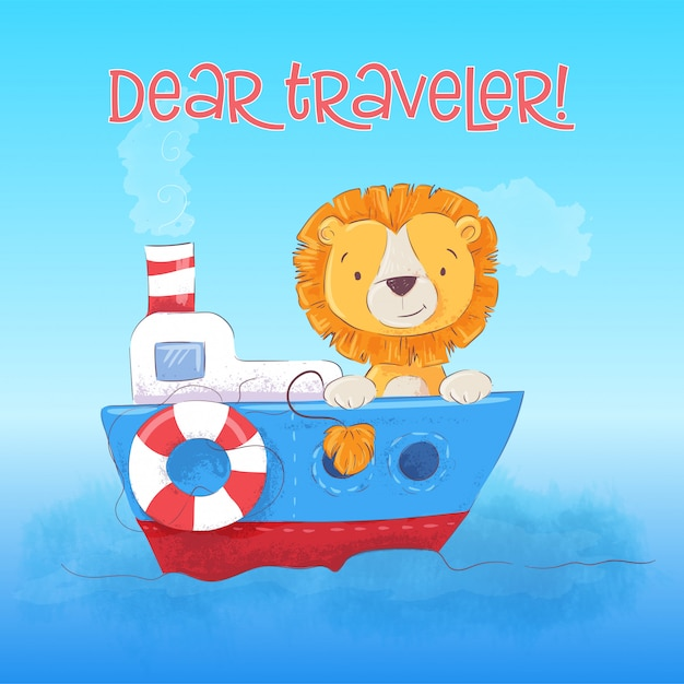 Illustratie van schattige leeuw cub drijft op de boot. cartoon stijl. vector Premium Vector