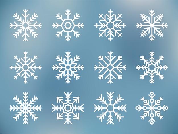 Illustratie van schattige sneeuwvlok pictogrammen Gratis Vector