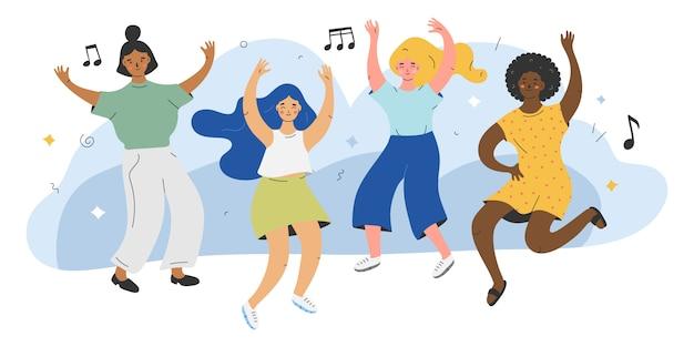 Illustratie van schattige vrouwelijke personages dansen op de muziek Premium Vector