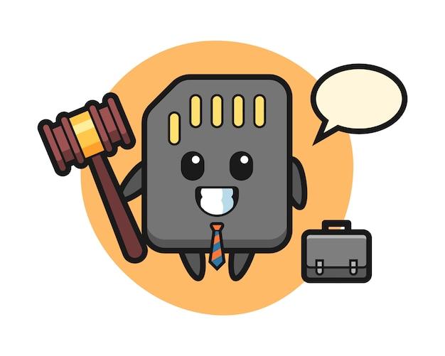 Illustratie van sd-kaartmascotte als advocaat, leuk stijlontwerp voor t-shirt Premium Vector