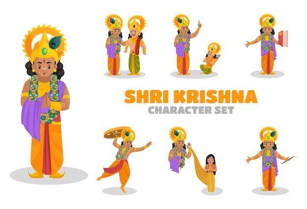 Illustratie van shri krishna-tekenset Premium Vector