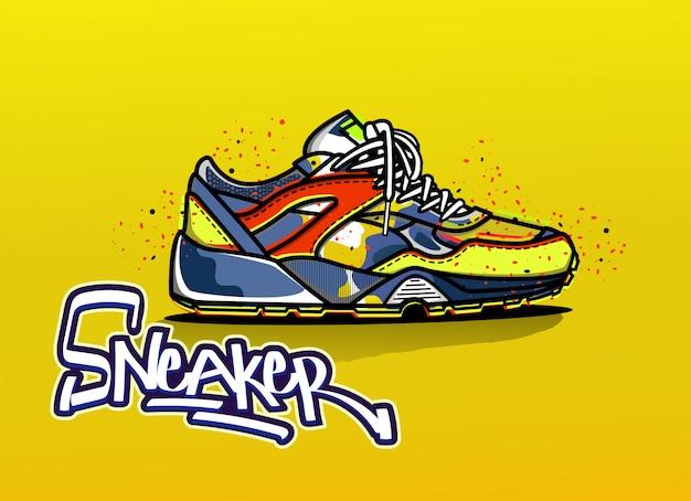 Illustratie van sneaker in kleur Premium Vector
