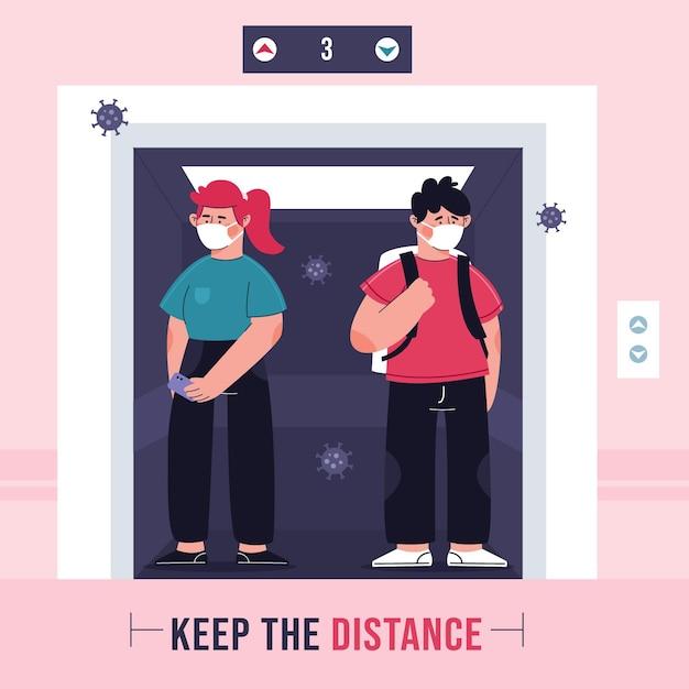 Illustratie van sociale afstand nemen in een lift Gratis Vector