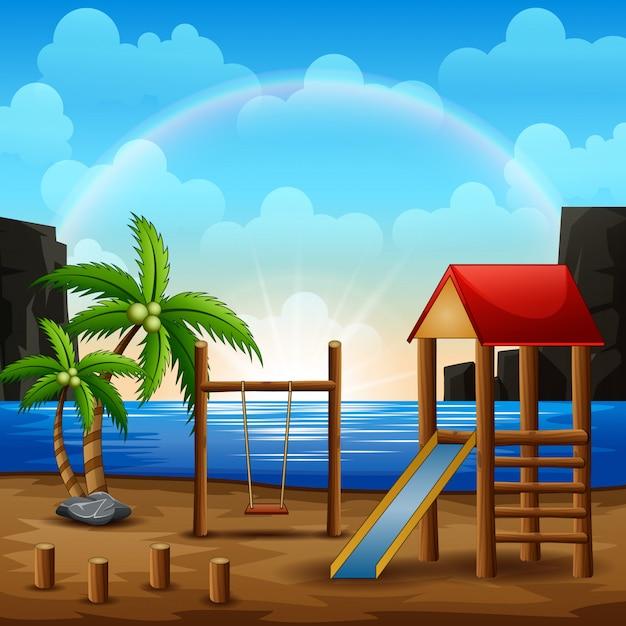 Illustratie van speelplaats op het strand Premium Vector