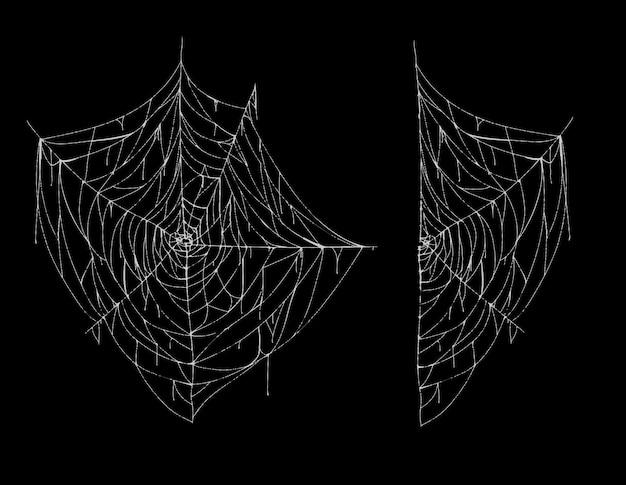 Illustratie van spiderweb, geheel en deel, wit griezelig spinneweb geïsoleerd op zwarte achtergrond. Gratis Vector