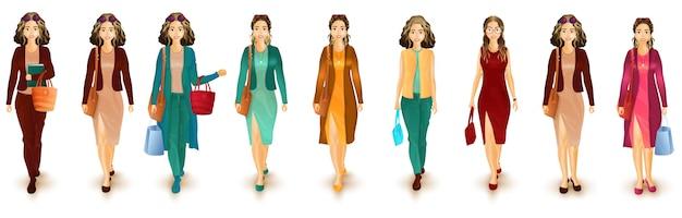 Illustratie van stedelijk vrouwenkarakter in westelijke uitrusting. Premium Vector