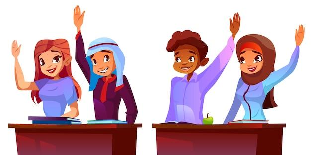 Illustratie van studenten - multiculturele leerlingen. Gratis Vector