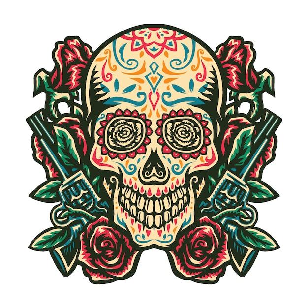 Illustratie van suiker schedel met een pistool en een roos Premium Vector
