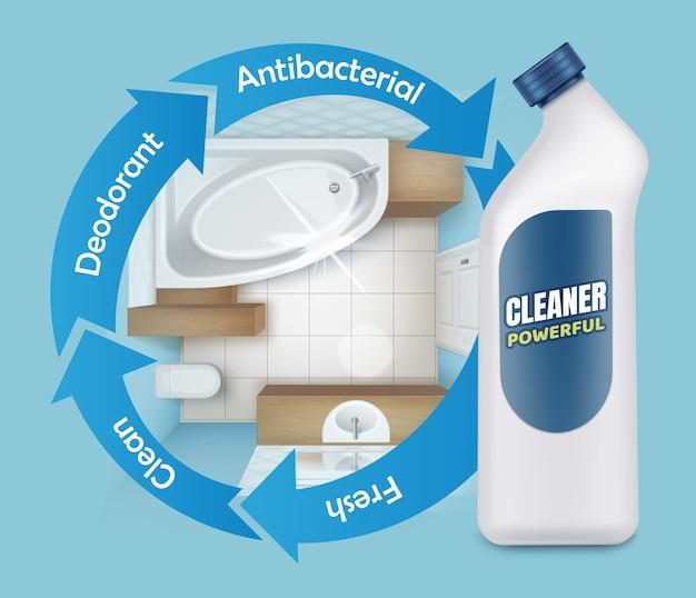 Illustratie van tegel schimmel schonere advertenties, krachtig wasmiddel product, bovenaanzicht van badkamer met witte plastic fles op blauwe achtergrond Premium Vector