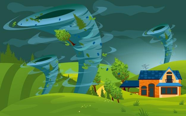Illustratie van tornado storm raakte de stad. orkaan in dorp vernietigen gebouw, velden en bomen in vlakke stijl. Premium Vector